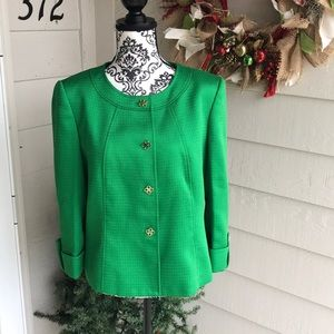 Green Tahari Tweed Blazer